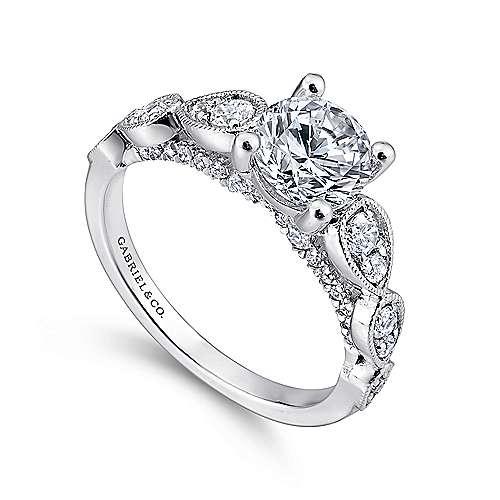 Garland 14k White Gold Round Straight Engagement Ring angle 3