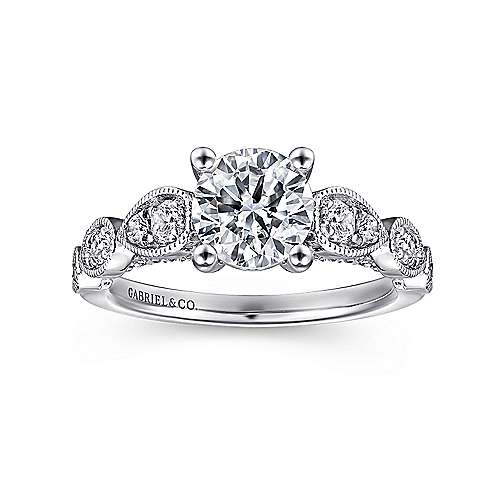 Garland 14k White Gold Round Straight Engagement Ring angle 5