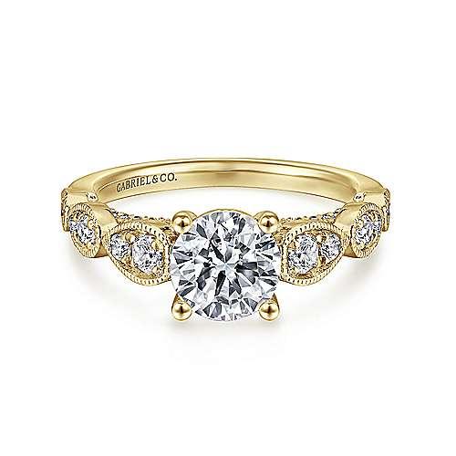 Gabriel - Garland 14k Yellow Gold Round Straight Engagement Ring
