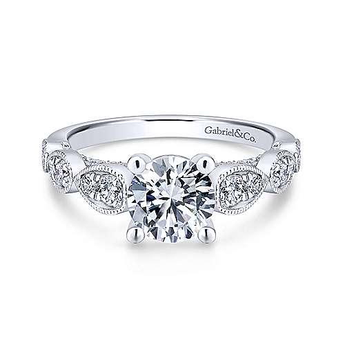 Gabriel - Garland 18k White Gold Round Straight Engagement Ring
