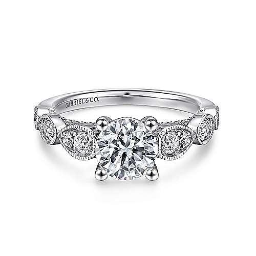 Gabriel - Garland Platinum Round Straight Engagement Ring