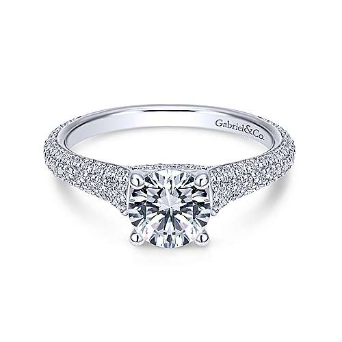 Gabriel - Gavin 18k White Gold Round Straight Engagement Ring