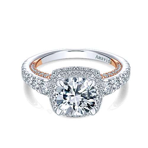 Gelato 18k White And Rose Gold Round Halo Engagement Ring