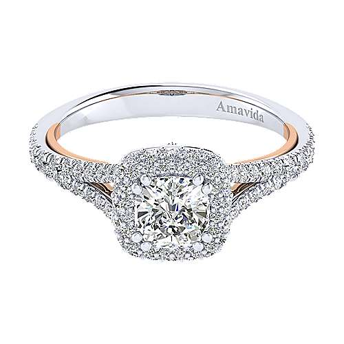 Gabriel - Gemma 18k White And Rose Gold Cushion Cut Halo Engagement Ring