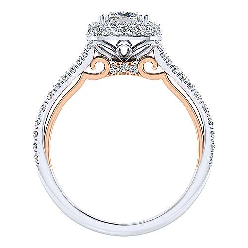 Gemma 18k White And Rose Gold Cushion Cut Halo Engagement Ring angle 2