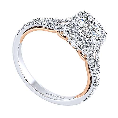 Gemma 18k White And Rose Gold Cushion Cut Halo Engagement Ring angle 3