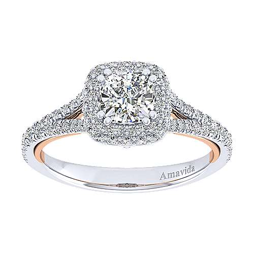 Gemma 18k White And Rose Gold Cushion Cut Halo Engagement Ring angle 5