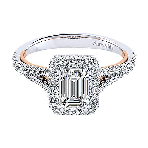 Gabriel - Gemma 18k White And Rose Gold Emerald Cut Halo Engagement Ring