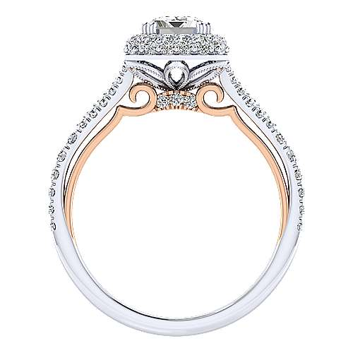 Gemma 18k White And Rose Gold Emerald Cut Halo Engagement Ring angle 2