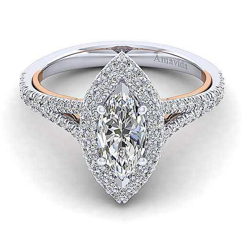 Gabriel - Gemma 18k White And Rose Gold Marquise  Halo Engagement Ring