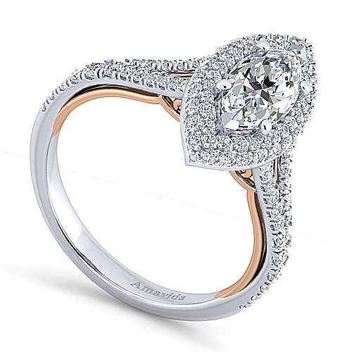Gemma 18k White And Rose Gold Marquise  Halo Engagement Ring angle 3