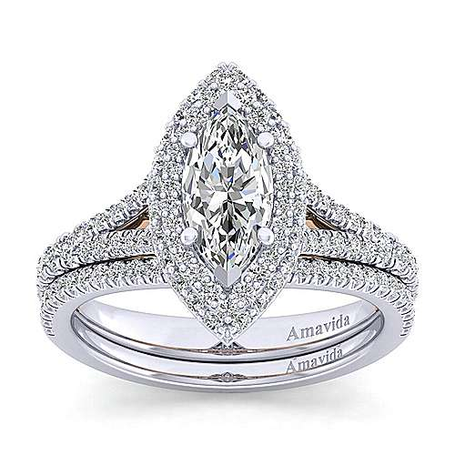 Gemma 18k White And Rose Gold Marquise  Halo Engagement Ring angle 4