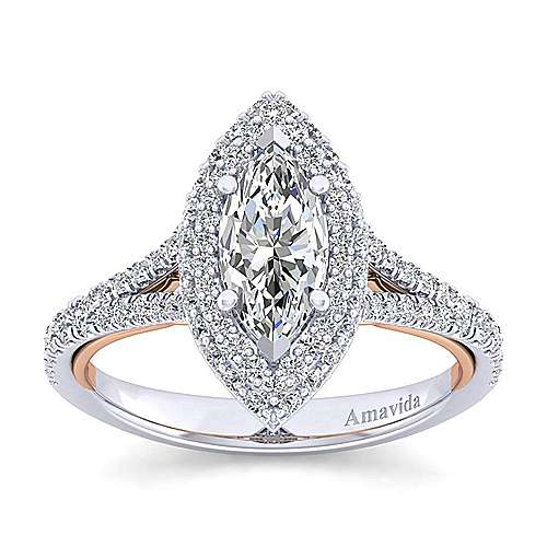 Gemma 18k White And Rose Gold Marquise  Halo Engagement Ring angle 5