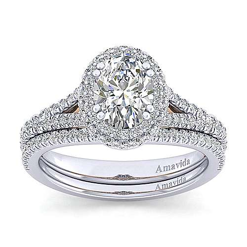 Gemma 18k White And Rose Gold Oval Halo Engagement Ring angle 4