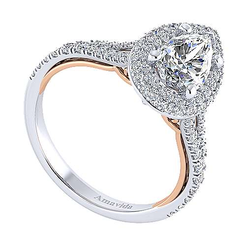 Gemma 18k White And Rose Gold Pear Shape Halo Engagement Ring angle 3