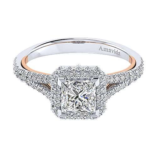 Gabriel - Gemma 18k White And Rose Gold Princess Cut Halo Engagement Ring