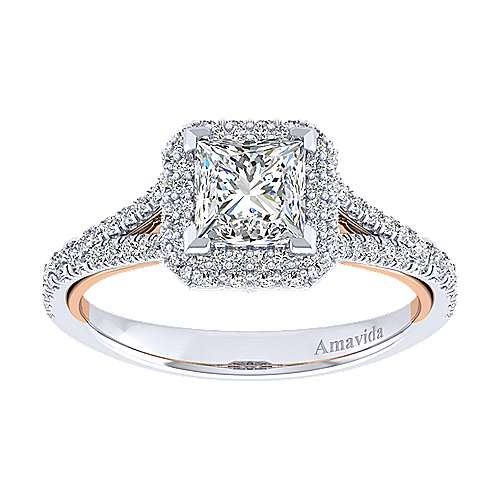 Gemma 18k White And Rose Gold Princess Cut Halo Engagement Ring angle 5