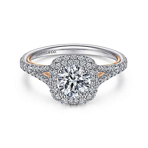 Gabriel - Gemma 18k White And Rose Gold Round Double Halo Engagement Ring