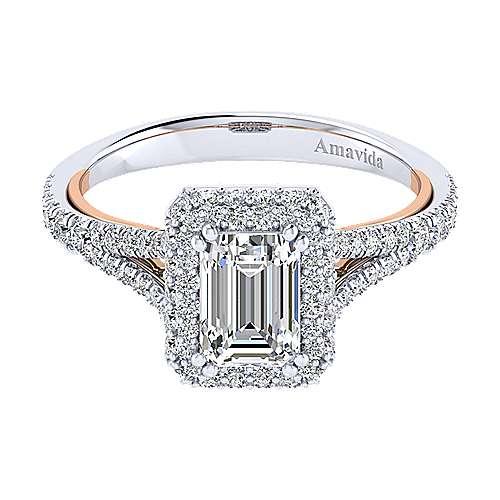 Gabriel - Gemma 18k White/pink Gold Emerald Cut Halo Engagement Ring