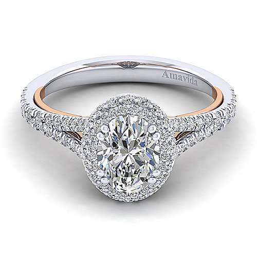Gabriel - Gemma 18k White/pink Gold Oval Halo Engagement Ring