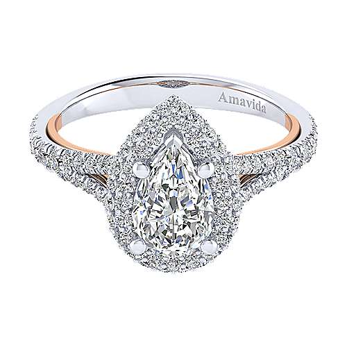 Gabriel - Gemma 18k White/pink Gold Pear Shape Halo Engagement Ring