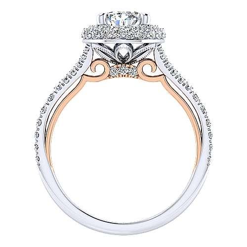 Gemma 18k White/pink Gold Pear Shape Halo Engagement Ring angle 2