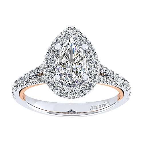 Gemma 18k White/pink Gold Pear Shape Halo Engagement Ring angle 5