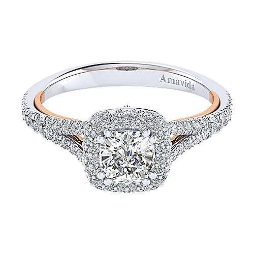 Gabriel - Gemma 18k White/rose Gold Cushion Cut Halo Engagement Ring