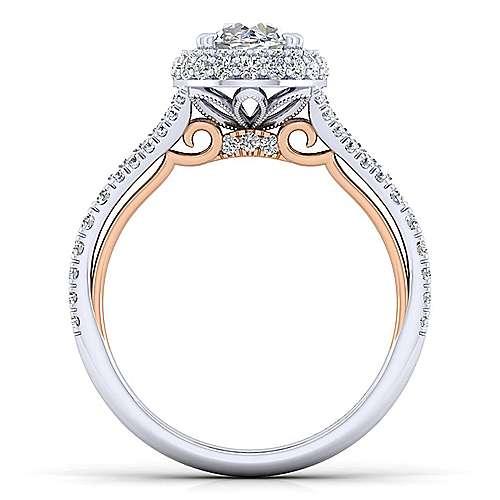 Gemma 18k White/rose Gold Oval Halo Engagement Ring angle 2