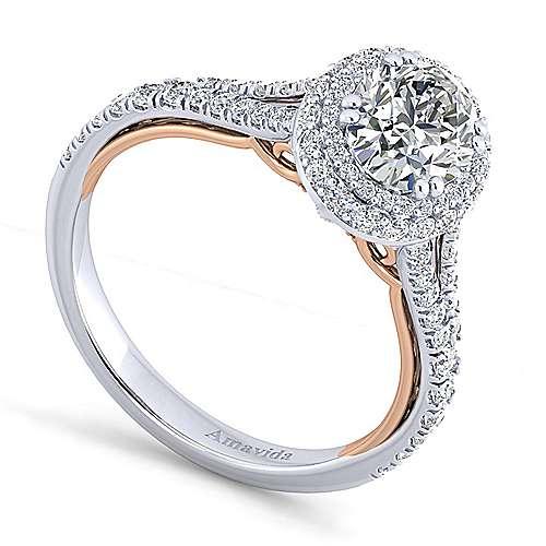 Gemma 18k White/rose Gold Oval Halo Engagement Ring angle 3