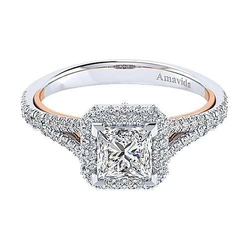 Gabriel - Gemma 18k White/rose Gold Princess Cut Halo Engagement Ring
