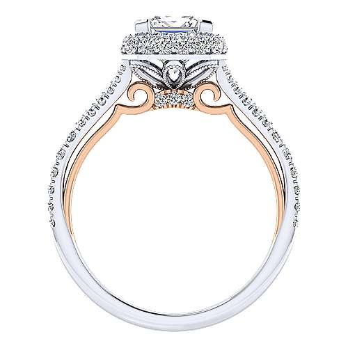 Gemma 18k White/rose Gold Princess Cut Halo Engagement Ring angle 2