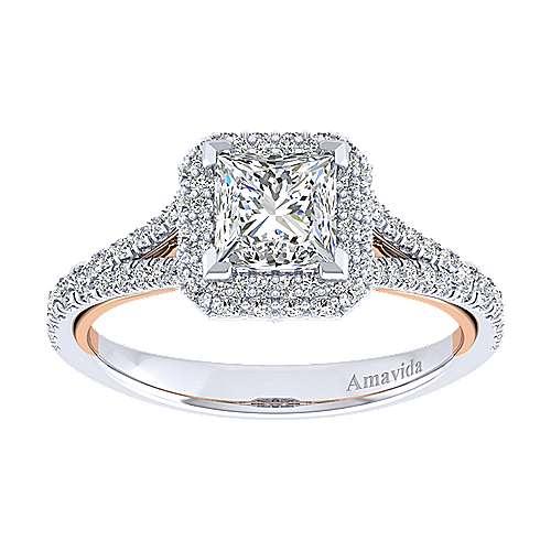 Gemma 18k White/rose Gold Princess Cut Halo Engagement Ring angle 5