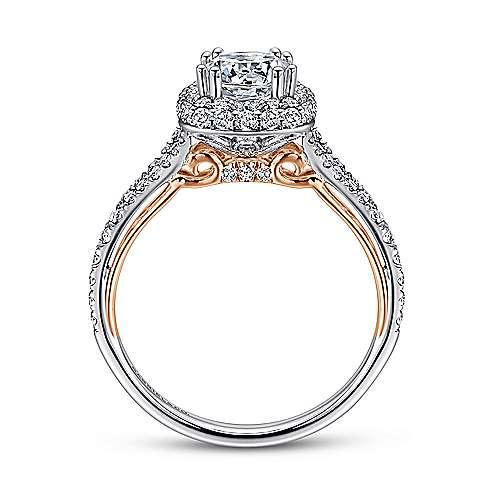 Gemma 18k White/rose Gold Round Double Halo Engagement Ring angle 2