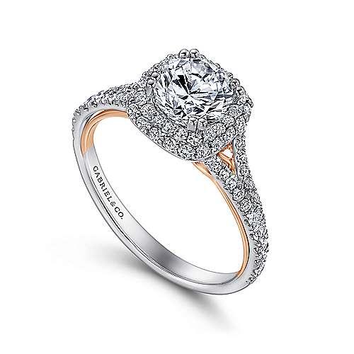 Gemma 18k White/rose Gold Round Double Halo Engagement Ring angle 3