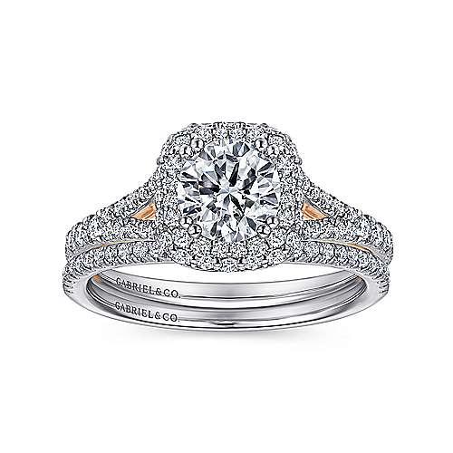 Gemma 18k White/rose Gold Round Double Halo Engagement Ring angle 4