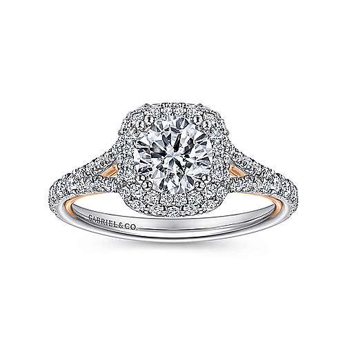 Gemma 18k White/rose Gold Round Double Halo Engagement Ring angle 5