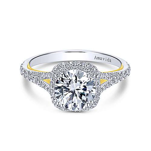 Gabriel - Gemma 18k Yellow And White Gold Round Halo Engagement Ring