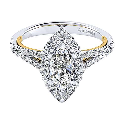 Gabriel - Gemma 18k Yellow/white Gold Marquise  Halo Engagement Ring