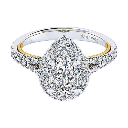 Gabriel - Gemma 18k Yellow/white Gold Pear Shape Halo Engagement Ring