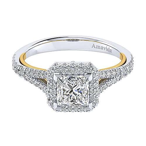 Gabriel - Gemma 18k Yellow/white Gold Princess Cut Halo Engagement Ring