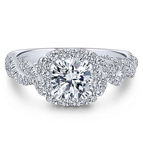 Gabriel - Geneva 14k White Gold Round Halo Engagement Ring