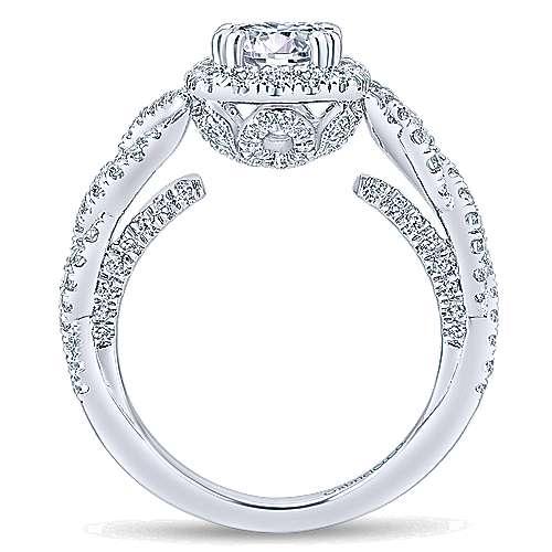 Geneva 14k White Gold Round Halo Engagement Ring angle 2