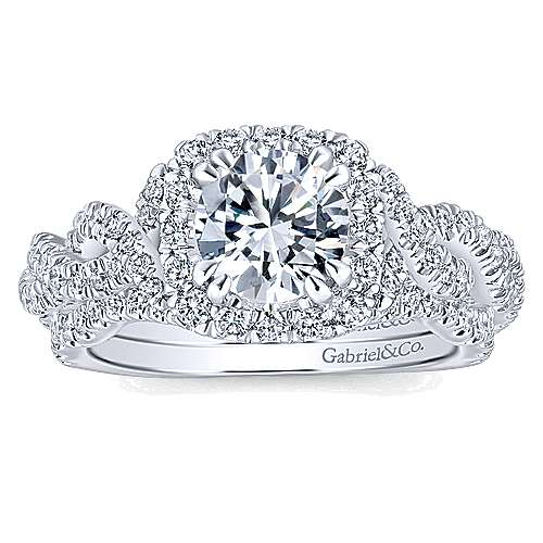 Geneva 14k White Gold Round Halo Engagement Ring angle 4