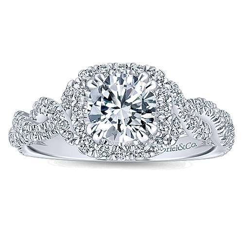 Geneva 14k White Gold Round Halo Engagement Ring angle 5
