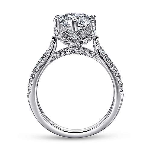 Genoa 18k White Gold Round Straight Engagement Ring