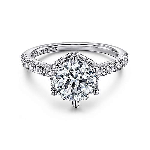 Gabriel - Genoa Platinum Round Straight Engagement Ring