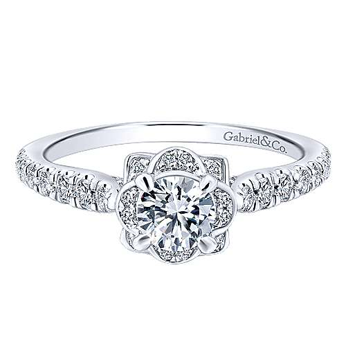 Gentle 14k White Gold Round Halo Engagement Ring angle 1