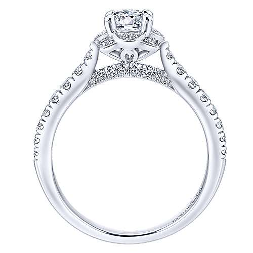 Gentle 14k White Gold Round Halo Engagement Ring angle 2