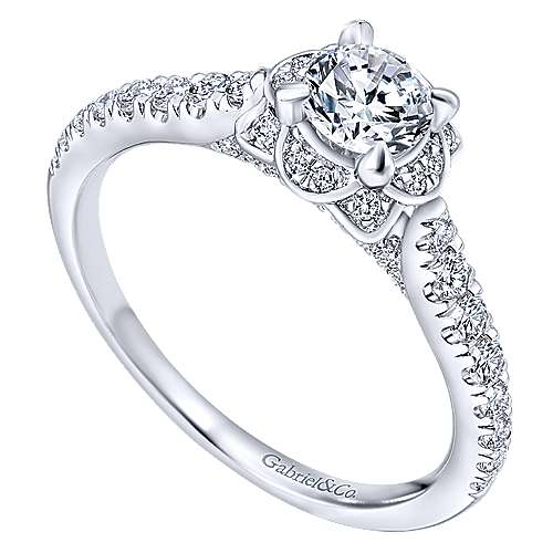 Gentle 14k White Gold Round Halo Engagement Ring angle 3